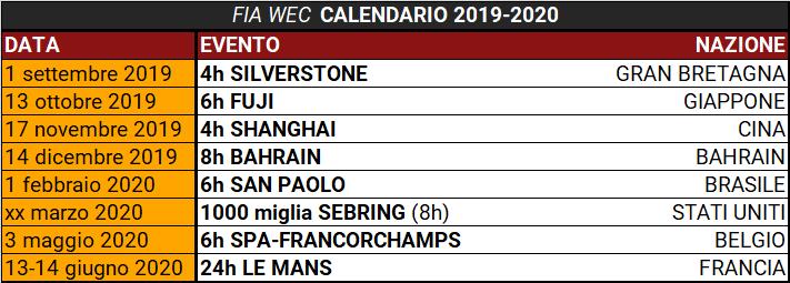 Calendario Maggio 2020.Il Fia Wec Lancia Il Calendario Della Stagione 2019 2020